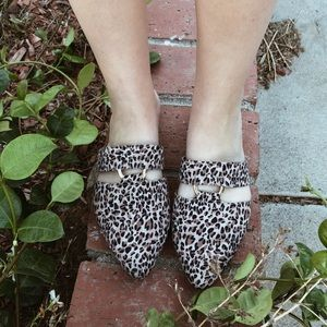Cheetah Print Fall Ring Accented Slide Loafers